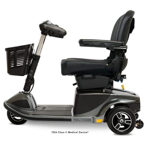 Revo 2.0 3 Wheel Mobility Scooter S66, Side View, Grey