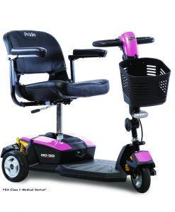 Go-Go LX with CTS Suspension 3 Wheel Travel Scooter in Pink | Pride Scooters | My Mobility Store